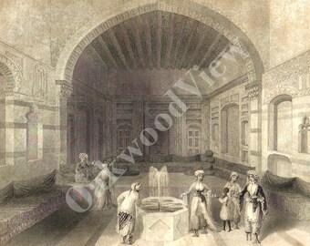 Oriental Harem Engraving, Arabian Women, Servant Fountain Middle East Muslim, W.H. Bartlett, Black & White Antique 1854 Plate, FREE Shipping