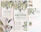 Letterpress invitation suite, SAMPLE, wedding, rsvp, wishingwell, australian gum tree, eucalyptus leaves, digital image letterpress text