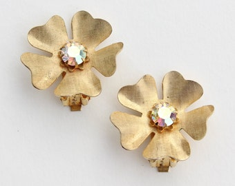 SALE 10 PERCENT OFF Vintage Goldtone Textured Flower Gold Tone Prong Set Glass Aurora Borealis Rhinestone Cluster Clip On Earrings