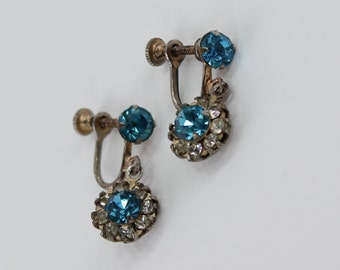 Vintage Silvertone Faux Topaz Blue Glass .Clear Crystal Rhinestone Silver Tone Traditional Cottage Chic Dangle Drop Screw On Earrings