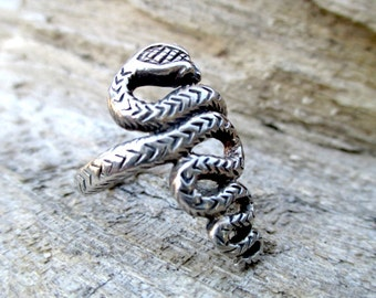 Vintage Sterling Silver Snake Serpent Ring Size 7