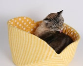 Jumbo Cat Canoe in Yellow Tabby Stripe Organic Cotton Fabric