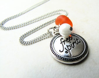 Seaglass Necklace, Sea Glass Necklace, Free Spirit, Personalized Necklace, Beach Jewelry, Orange Seaglass, Fire Necklace, Ocean Necklace