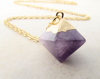 amethyst necklace, crystal necklace, gemstone necklace, starseed necklace, ocatedron, pendulum, divination, oracle, gridlines