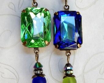 Jewel Earrings, Rhinestone EArrings, Blue Green Rhinestone Earrings, Blue Green Rhinestone Jewelry