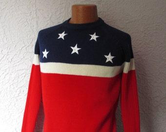 70's Vintage  Stars and Stripes Flag Ski Sweater Obermeyer