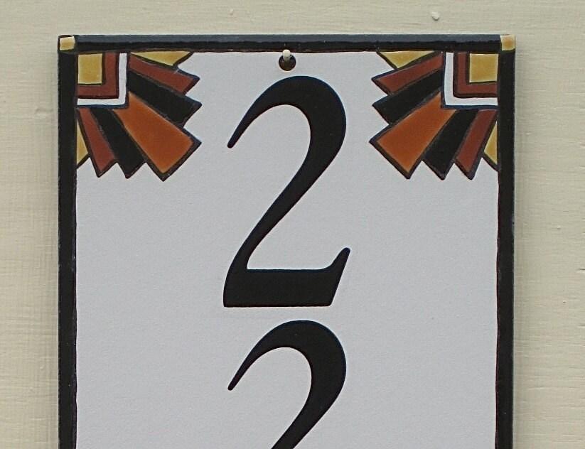 outdoor house number tile vertical art deco address plaque. Black Bedroom Furniture Sets. Home Design Ideas