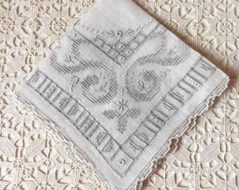 Wedding Handkerchief - Art Deco, Antique 1930s, Textile Art, Heirloom, Vintage Glamour, Bride, Destination Wedding, Something Old:  BD-819