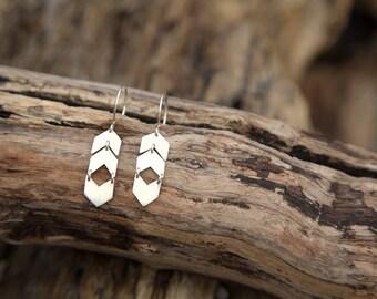 Small Dangly Chevron Earrings in Sterling Silver
