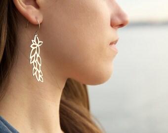 Symmetrical Leafy Earrings in Sterling Silver