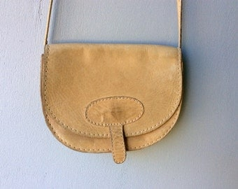 Tan LEATHER Small Vintage Cross Body Purse