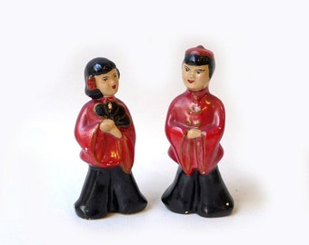ON SALE Vintage mid century Occupied Japan porcelain figurines Chinese boy and girl, collectable post war figurines