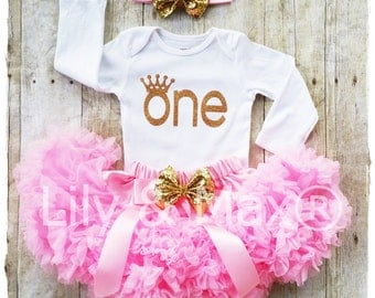 Pink and gold ONE Outfit,Birthday set, Sparkly Glitter ONE outfit with pink chiffon pettiskirt