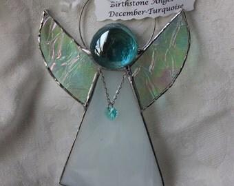Stained Glass Swarvoski Heart December Birthstone Angel