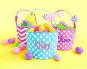 Pink or Aqua Easter Bucket ~ Easter Basket ~ Monogram Easter Bucket ~ Personalized Easter Basket