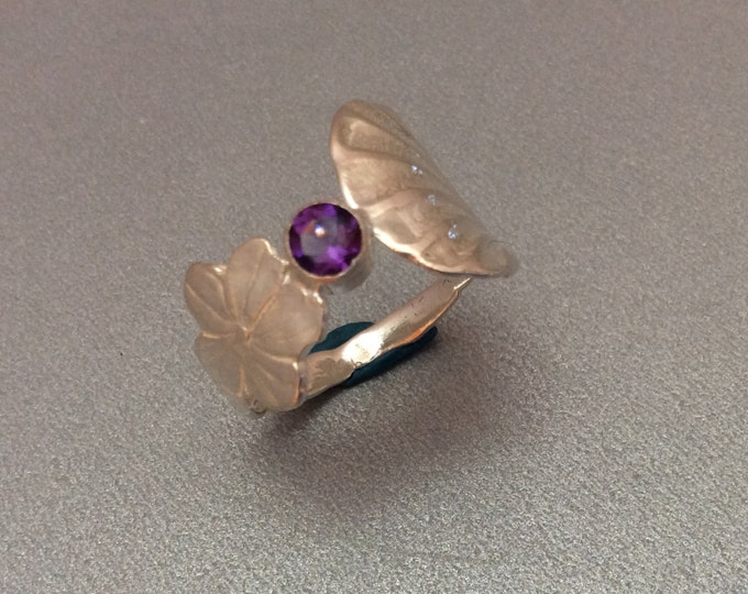 Sterling Silver Salt Spoon Ring with Amethyst stone
