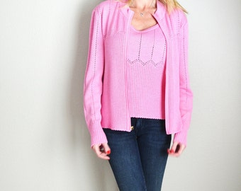 Vintage 90s St. John Sport Marie Gray Pink Knit Tank and Sweater Set // womens medium