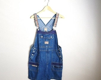 July SALE - 15% Off - Vintage BUM Equipment Denim Jean Shortall OVerall Shorts // womens large