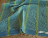 Handwoven Dish Towel, Cornflower Blue, Green and Lime Green, 100% Cotton