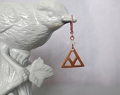 Acute - Copper and White Quartz Architectural Triangle Earrings with Geometric Pattern and Sleeper Earwires