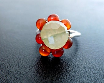 Gemstone Silver ring, Prehnite Carnelian, orange green ring, Sterling Silver wire-wrapped flower design, ring size 8, gemstone jewelry