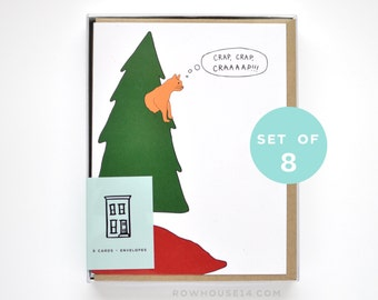 Funny Christmas Card Set - Cat Christmas Card - Cat Card