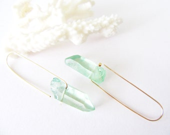 Summertime Raw Crystal Earrings// Boho Chic Handmade Bohemian Designer Jewelry/ Aquamarine Quartz