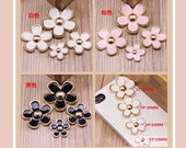 1set(4pcs) diy oil drop alloy flower cabochon 19mm/24mm/29mm/32mm flatback mix colors