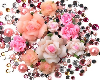 300 pcs Mix Faceted Rhinestone Polymer Clay Flower Cabochon (2mm~5mm) FD04