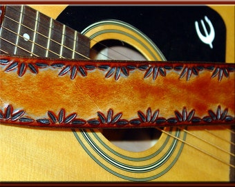 POLYNESIAN LEAF DESIGN Guitar Strap • A Simple and Beautifully Hand Dyed, Hand Crafted Leather Guitar Strap