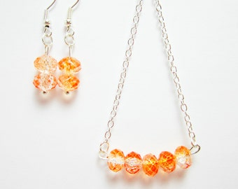 Necklace and Earring Set Rondelle Necklace Sherbet Orange Clear Rondelles Gift Set for Her Silver Plate Chain 24 Inch