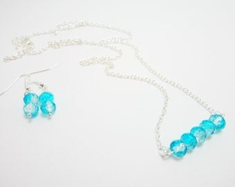 Necklace and Earring Set Rondelle Necklace Aqua and Clear Rondelles Gift Set for Her Silver Plate Chain 24 Inch