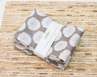 Large Cloth Napkins - Set of 4 - (N3854) - Mums Gray Floral Flower Modern Reusable Fabric Napkins