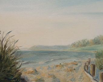 Dusk on the Beach, plein air oil painting