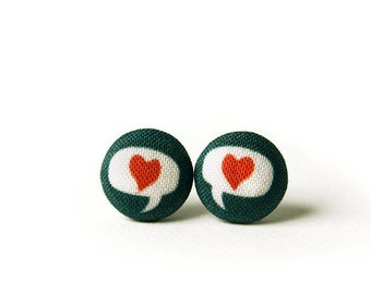 Love Stud Earrings, Heart, Fabric Buttons, Small Ear Studs, Earrings for Children, Gift for Her