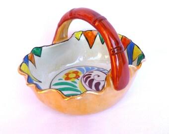 Vintage PEARLIZED Glaze CERAMIC BASKET/ Candy Dish