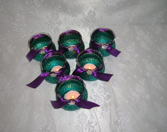 Candle Glasses Glittered in Teal With Purple Ribbon and Crystal Accents, Peacock Wedding Colors, Sets of 3 or 6