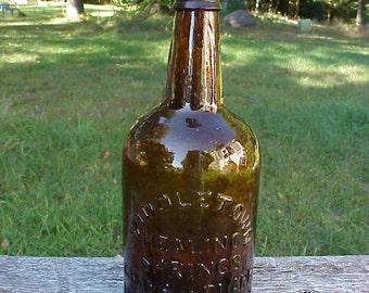 c1870s Middletown Healing Springs Grays & Clark Middletown, VT. , Cork Top Stoddard Amber Quart Mineral Water Bottle