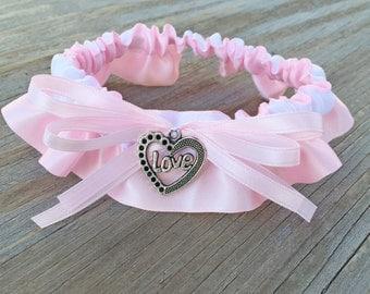 Light Pink & White Satin Wedding Garter LOVE Charm Embellished Bridal Keepsake Or Garter Set