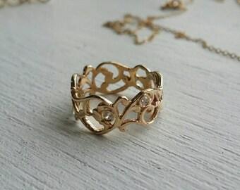 Lace gold ring, wedding ring, gold ring, diamond ring, paisley ring, 14k gold ring and diamonds