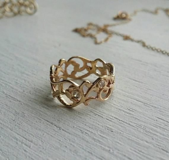 Lace Gold Ring Wedding Ring Gold Ring Diamond Ring Paisley