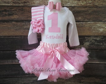 Baby Girl 1st Birthday Outfit, Light Pink, Personalized Bodysuit, Pink Pettiskirt, Leg Warmers, Birthday Tutu, Girls First Birthday Outfits
