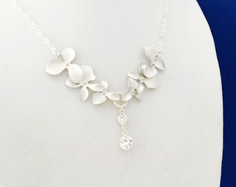 Silver Orchid Necklace with Diamond CZ Drops, Sterling Silver Chain, Wedding Jewellery