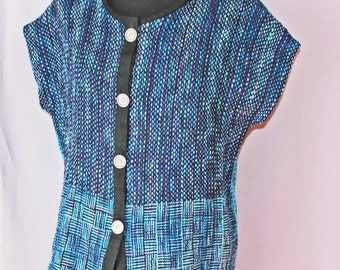 Blue hand woven cotton top, handwoven four button cotton top