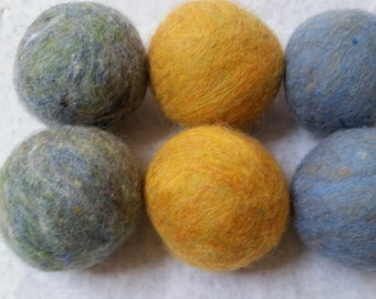 Wool Dryer Balls, Wild Mustard and Foggy Grey Blues, set of 6 Free Shipping to USA