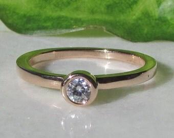 Rose Gold Diamond Stacking Ring, Diamond Solitaire, 3.5mm Diamond, 14k Rose Gold, 2 mm Band, Diamond Rings, Promise Ring, Birthday Gift