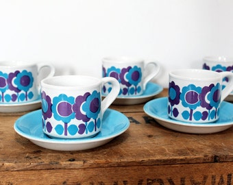 Vintage Retro Boxed Coffee Set - 1960's Graphic Flowers - Blue & Purple - Mocca - Staffordshire Potteries