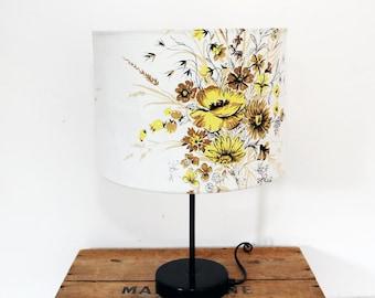 Vintage Fabric Lampshade, Retro 1950s Fabric, Handmade, Medium Size, Yellow Corn Flowers