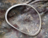Silver Hammered Organic Shape Bangle - Inspiration by Henry Moore - women's large bangle or men's small bangle