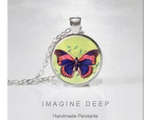 BUY 2 GET 1 FREE Butterfly Pendant Necklace Art High Quality Handmade Silver Copper Pendant - Purple Pink Butterfly (007)